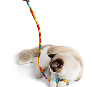 Cat Toy Pet Toys Interactive Teaser Rope Foldable Stick Cat Plastic Fabric Leopard Rainbow