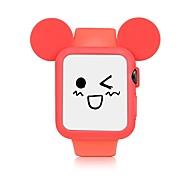 Pulseira de relógio de silicone e caixa do relógio para maçã relógio série 1/2 38 milímetros / 42 milímetros bonito cartoon estilo amarelo