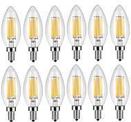 6W E14 Bombillas de Filamento LED C35 6 COB 600 lm Blanco Cálido Blanco Fresco Decorativa AC 100-240 V 12 piezas