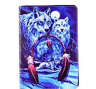 Для яблока ipad pro 9.7 '' ipad 5 ipad 6 крышка случая волк картина карта стент pu материал плоский защитный кожух
