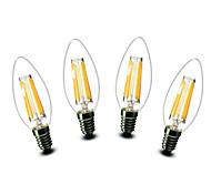 4.5W E14 Luci LED a candela C35 6 COB 500 lm Bianco caldo Decorativo AC 220-240 V 4 pezzi