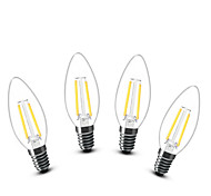 2W E14 LED лампы в форме свечи C35 2 COB 200 lm Тёплый белый Декоративная AC 220-240 V 4 шт.