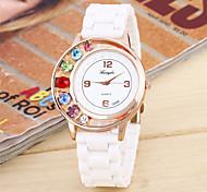 Mulheres Relógio de Moda Quartzo Silicone Banda Casual Branco