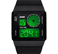 Men's Digital Watch Chinese Quartz Alloy Silicone Band Black White Blue Green