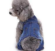 Собаки Брюки Одежда для собак Лето Полоски Милые Мода Синий