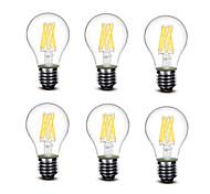 5.5W E27 Bombillas de Filamento LED A60(A19) 8 COB 700 lm Blanco Cálido Decorativa AC220 AC230 AC240 V 6 piezas