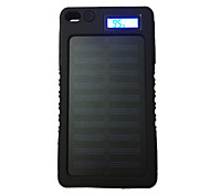 LCD-8000 8000mAh LCD 5V1A Waterproof Power Bank with Solar Recharger for Mobile Phone
