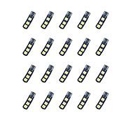 20pcs t10 6 * 5050 smd доске лезвия расшифровывая вело свет электрической лампочки автомобиля dc12v