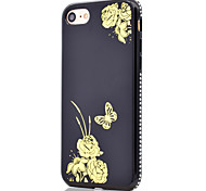 For Gold-Plated Flower Butterfly Pattern Side Rhinestone Mirror Function Soft TPU Phone Case for iPhone 7 Plus 7 6S Plus 6S 6
