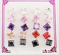 Women's  Square Studs Cubic Zirconia  Multicolor  Euramerican  Fashion Daily Movie Jewelry Box  (a box of 10)
