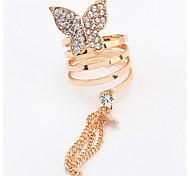 Euramerican Fashion Rhinestone Butterfly Tassel Rings Lady Daily Ring Movie Jewelry