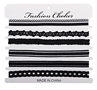 6 Pcs/pack Black Lace Leather Velet strip Choker Necklace Torques Multilayers Collar Women Statement Jewelry