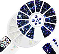 2pcs/set Fashion White&Montana Mixed Size Shining Resin Jelly Rhinestone Decoration Nail Art Round Disc Glitter Rhinestone DIY Beauty