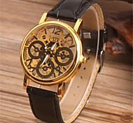 Men's Skeleton Watch Fashion Watch Quartz Leather Band Black Brown