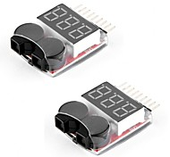 2 Packs RC Lipo Battery Monitor Alarm Tester Checker Low Voltage Buzzer Alarm with LED Indicator for 1-8S Lipo LiFe LiMn Li-ion Battery