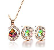 4 Colors New Fashion Elegant Charm Luxury Rhinestone Crystal Square Pendant Necklace Stud Earrings Jewelry Set Wedding Accessories