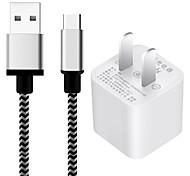 Us plug phone usb type-c зарядное устройство с комплектом зарядного устройства для кабеля 100 см 1 порт USB 1a ac 100v-240v
