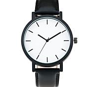 Cool Style Men Wristwatch Brief Vogue Simple Stylish Black and white Face Leather Quartz Clock Fashion Watch