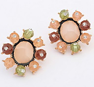 Stud  Earrings Girl Lady Euramerican New Delicate Candy Colors Personality Imitation Diamond Flower Daily Party Movie Jewelry