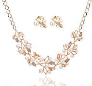 Fashion Elegant Charm Luxury Pearl Rhinestone Leaves Earrings Necklace Jewelry Set For Women Wedding Bridal Jewelry Accessories