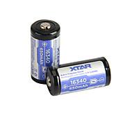 2pcs xtar 16340 650mAh batería recargable 3.6v 2.405wh li-ion