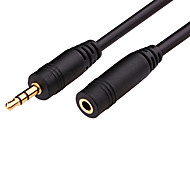 Audio jack de 3.5mm Cable de extensión, Audio jack de 3.5mm to Audio jack de 3.5mm Cable de extensión Macho - Hembra Cobre dorado1,8 M (6