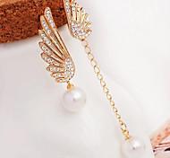 Drop Earrings New  Mismatching Asymmetry Earrings  Fashion Pearl Rhinestone Wings Drop Earring For Women Movie Gift Jewelry