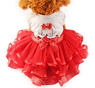 Кошка Собака Платья смокинг Одежда для собак Для вечеринки На каждый день Свадьба Бант Желтый Красный Зеленый