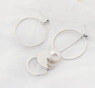 Drop Earrings New Mismatching Asymmetry Earrings Personalized Copper Pearl Circle For  Women Daily Party Gift Movie  Jewelry