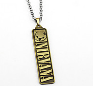 Lureme Simple Jewelry Nirvana Band Signs Unplug Rectangle Pendant Necklace