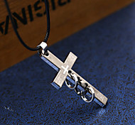 Муж. Ожерелья с подвесками Заявление ожерелья Крестообразной формы Геометрической формы Нержавеющая сталь Титановая стальУникальный