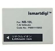 Ismartdigi 10L 7.4V 820mAh Camera Battery for Canon G1X G15 G16 SX40HS SX50HS