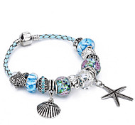 Women's Ocean Star Charm Bracelet Strand Bracelet Friendship Beaded Fashion Crystal Silver Plated Ball Jewelry