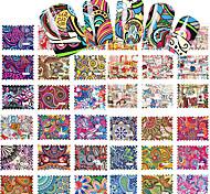 44pcs/Set The Stick Flowers Nail Sticker Stamp Watermark