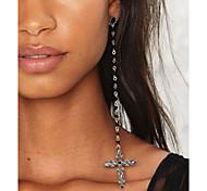 New Retro Gothic Style Handmade Alloy Cross Pendant String Black Color Beads Long Tassel Earrings For Women Fashion Jewelry