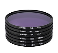 Andoer 77mm UV CPL FLD ND(ND2 ND4 ND8) Photography Filter Kit Set Ultraviolet Circular-Polarizing Fluorescent Neutral Density Filter
