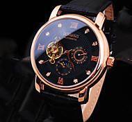 Муж. Наручные часы Механические часы С автоподзаводом Защита от влаги Кожа Группа Блестящие Люкс Черный Коричневый