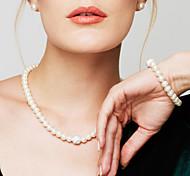Жен. Набор украшений Браслеты-цепочки и звенья Пряди Ожерелья Жемчужные ожерелья Круглый Бижутерия Жемчуг Искусственный бриллиантМода