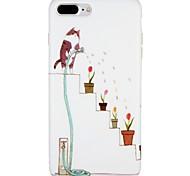 Случай для яблока iphone 7 плюс iphone 7 обложка матовое изображение задняя крышка случая кошка мультфильм цветок мягкий tpu для iphone 6s