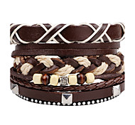 Муж. Wrap Браслеты Кожаные браслеты Регулируется По заказу покупателя Rock Multi-Wear способы Сделай-сам Кожа Круглой формы Бижутерия