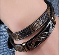 Муж. Мальчики Браслет цельное кольцо Браслет разомкнутое кольцо Бижутерия Мода Сделай-сам Кожа Титановая сталь Геометрической формы