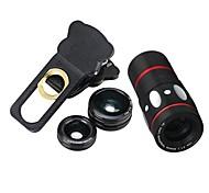 10x многофункциональный 4 in1 внешний объектив камеры широкоугольный макросъемка fisheye telephoto для мобильного телефона (черный)