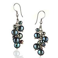 słodkowodne czarne perły i kolczyki srebro