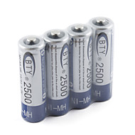 BTY 2500mAh NH-AA HR6 Rechargeable Battery Set (4-pack)