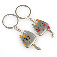 chat mignon de métal en forme de porte-clés, la paire