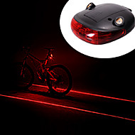 Waterproof 2 Straight Lines Red Laser + 3-Mode 3-LED Bike Tail Warning Safety Light (2xAAA)