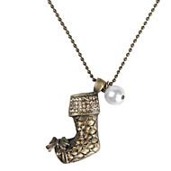 Collier de Noël chaussette de cuivre avec perle