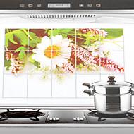 75x45cm Wild Chrysanthemum Patroon Olie-Proof Water-Proof Keuken muursticker