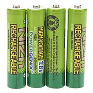 PowerGenix 900mWh 1.6V recarregável AAA Ni-Zn Bateria - Verde (4 PCS)
