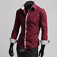 Men's Solid Casual Shirt,Cotton Blend Long Sleeve Black / Red / White / Gray